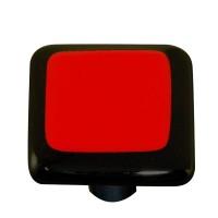 "Border Black Border Brick Red Square Cabinet Knob (1-1/2"") by Aquila Art Glass"