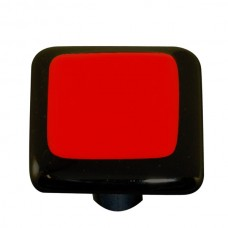 "Border Black Border Brick Red Square Cabinet Knob (1-1/2"") by Aquila Art Glass"