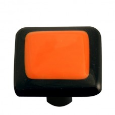 "Border Black Border Opal Orange Square Cabinet Knob (1-1/2"") by Aquila Art Glass"