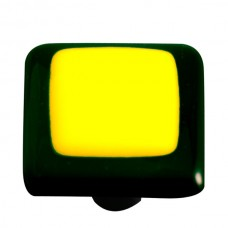 "Border Black Border Sunflower Yellow Square Cabinet Knob (1-1/2"") by Aquila Art Glass"