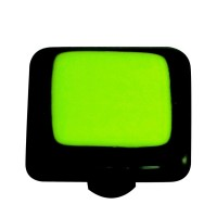 "Border Black Border Spring Green Square Cabinet Knob (1-1/2"") by Aquila Art Glass"