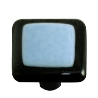 "Border Black Border Powder Blue Square Cabinet Knob (1-1/2"") by Aquila Art Glass"