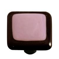 "Border Black Border Dusty Lilac Square Cabinet Knob (1-1/2"") by Aquila Art Glass"