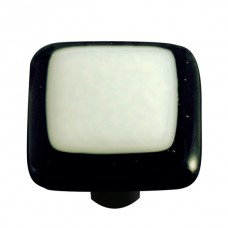 "Border Black Border White Square Cabinet Knob (1-1/2"") by Aquila Art Glass"