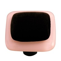 "Border Petal Pink Border Black Square Cabinet Knob (1-1/2"") by Aquila Art Glass"