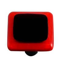 "Border Brick Red Border Black Square Cabinet Knob (1-1/2"") by Aquila Art Glass"
