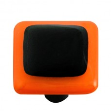 "Border Opal Orange Border Black Square Cabinet Knob (1-1/2"") by Aquila Art Glass"