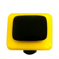 "Border Sunflower Yellow Border Black Square Cabinet Knob (1-1/2"") by Aquila Art Glass"