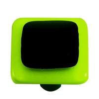 "Border Spring Green Border Black Square Cabinet Knob (1-1/2"") by Aquila Art Glass"