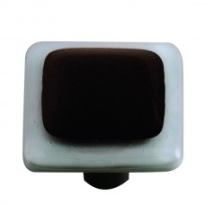 "Border Powder Blue Border Black Square Cabinet Knob (1-1/2"") by Aquila Art Glass"