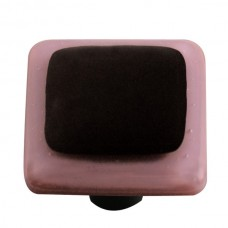 "Border Dusty Lilac Border Black Square Cabinet Knob (1-1/2"") by Aquila Art Glass"