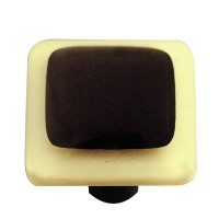 "Border French Vanilla Border Black Square Cabinet Knob (1-1/2"") by Aquila Art Glass"