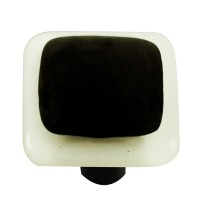 "Border White Border Black Square Cabinet Knob (1-1/2"") by Aquila Art Glass"