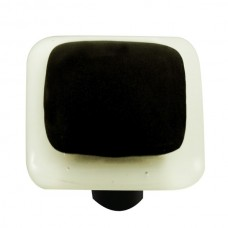 "Border White Border Black Square Cabinet Knob (1-1/2"") by Aquila Art Glass"