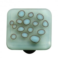 "Reactive Reactive Clear Powder Blue Square Cabinet Knob (1-1/2"") by Aquila Art Glass"