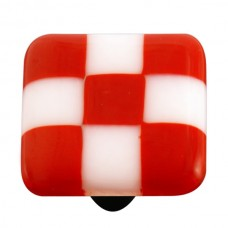 "Lil Squares Brick Red White Squares Square Cabinet Knob (1-1/2"") by Aquila Art Glass"