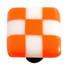 "Lil Squares Opal Orange White Squares Square Cabinet Knob (1-1/2"") by Aquila Art Glass"
