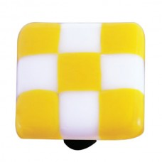 "Lil Squares Sunflower Yellow White Squares Square Cabinet Knob (1-1/2"") by Aquila Art Glass"