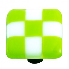 "Lil Squares Spring Green White Squares Square Cabinet Knob (1-1/2"") by Aquila Art Glass"