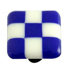 "Lil Squares Cobalt Blue White Squares Square Cabinet Knob (1-1/2"") by Aquila Art Glass"