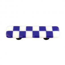 "Lil Squares Cobalt Blue White Squares Rectangle Drawer Pull (3"" cc) by Aquila Art Glass"