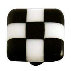"Lil Squares Black White Squares Square Cabinet Knob (1-1/2"") by Aquila Art Glass"
