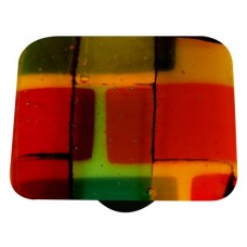 "Mosaic Mosaic Autumn Square Cabinet Knob (1-1/2"") by Aquila Art Glass"