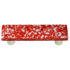 "Granite Red & White Rectangle Drawer Pull (3"" cc) by Aquila Art Glass"