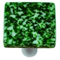 "Granite Light Metallic Green & White Square Cabinet Knob (1-1/2"") by Aquila Art Glass"