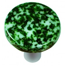 "Granite Light Metallic Green & White Round Cabinet Knob (1-1/2"") by Aquila Art Glass"