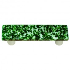 "Granite Light Metallic Green & White Rectangle Drawer Pull (3"" cc) by Aquila Art Glass"
