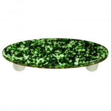 "Granite Light Metallic Green & White Oval Drawer Pull (3"" cc) by Aquila Art Glass"