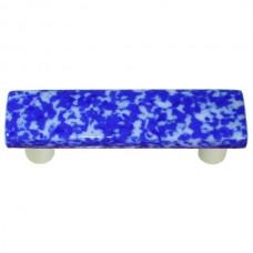 "Granite Cobalt Blue & White Rectangle Drawer Pull (3"" cc) by Aquila Art Glass"