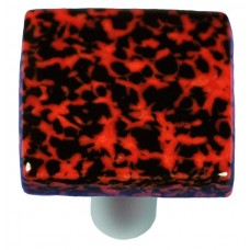 "Granite Black & Red Square Cabinet Knob (1-1/2"") by Aquila Art Glass"