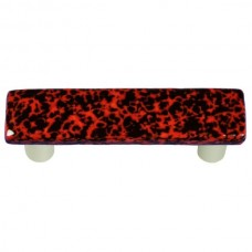 "Granite Black & Red Rectangle Drawer Pull (3"" cc) by Aquila Art Glass"