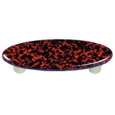 "Granite Black & Red Oval Drawer Pull (3"" cc) by Aquila Art Glass"