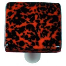 "Granite Black & Orange Square Cabinet Knob (1-1/2"") by Aquila Art Glass"