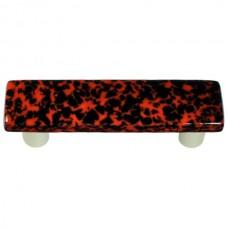 "Granite Black & Orange Rectangle Drawer Pull (3"" cc) by Aquila Art Glass"