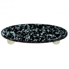 "Granite Black & White Oval Drawer Pull (3"" cc) by Aquila Art Glass"