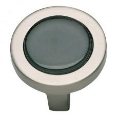 "Spa Black Round Cabinet Knob (1-1/4"") - Brushed Nickel (229-BLK-BRN) by Atlas Homewares"