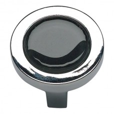 "Spa Black Round Cabinet Knob (1-1/4"") - Polished Chrome (229-BLK-CH) by Atlas Homewares"
