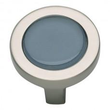 "Spa Blue Round Cabinet Knob (1-1/4"") - Brushed Nickel (229-BLU-BRN) by Atlas Homewares"