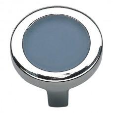"Spa Blue Round Cabinet Knob (1-1/4"") - Polished Chrome (229-BLU-CH) by Atlas Homewares"