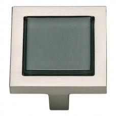 "Spa Black Square Cabinet Knob (1-3/8"") - Brushed Nickel (230-BLK-BRN) by Atlas Homewares"