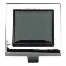 "Spa Black Square Cabinet Knob (1-3/8"") - Polished Chrome (230-BLK-CH) by Atlas Homewares"