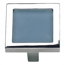 "Spa Blue Square Cabinet Knob (1-3/8"") - Polished Chrome (230-BLU-CH) by Atlas Homewares"