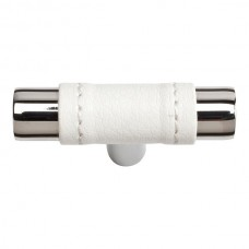 "Zanzibar White Leather Cabinet Knob (1-7/8"") - Polished Chrome (288-WT-CH) by Atlas Homewares"
