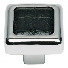 "Paradigm Square Cabinet Knob (1-1/4"") - Polished Chrome/Black Crocodile (3149-CROC) by Atlas Homewares"
