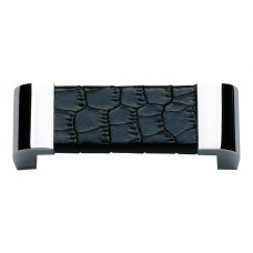 "Paradigm Drawer Pull (3"" cc) - Polished Chrome/Black Crocodile (3150-CROC) by Atlas Homewares"