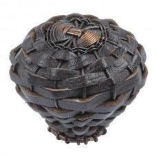 Hamptons Expresso Leather Cabinet Knob (2) - Aged Bronze/Espresso (3174-O) by Atlas Homewares
